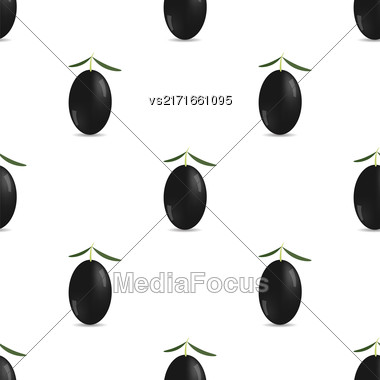 Black Olives Isolated On White Background. Seamless Pattern Stock Photo