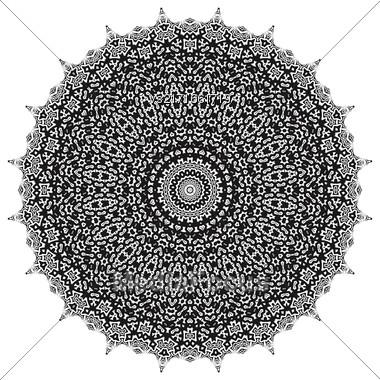 Black Ornamental Line Pattern. Oriental Geometric Ornament Stock Photo