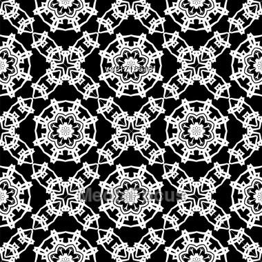 Black Ornamental Seamless Line Pattern. Endless Texture. Oriental Geometric Ornament Stock Photo