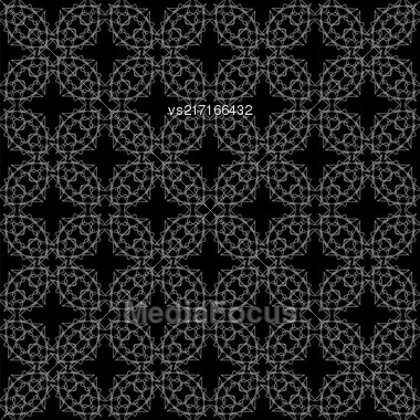 Black Ornamental Seamless Line Pattern. Endless Texture. Oriental Geometric Ornament Stock Photo