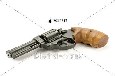 Black Revolver Gun Stock Photo
