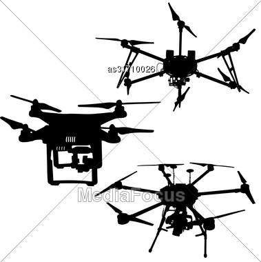 Black Set Silhouette Drone Quadrocopter On White Background Stock Photo
