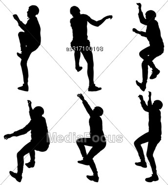 Black Set Silhouette Rock Climber On White Background Stock Photo