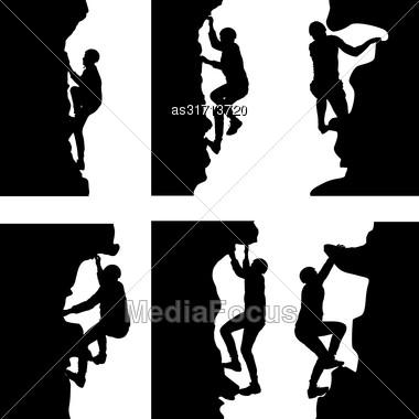 Black Set Silhouette Rock Climber On White Background Stock Photo