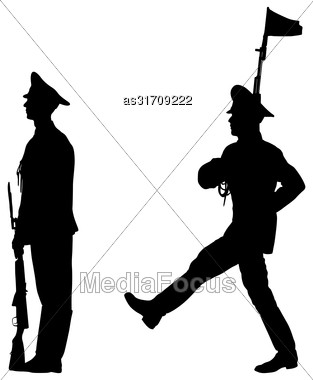 Black Set Silhouette Soldier Is Marching With Arms On Parade Stock Photo