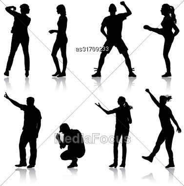 Black Set Silhouettes Of Beautiful Man And Woman On White Background. Vector Illustration Stock Photo