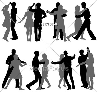 Black Set Silhouettes Dancing On White Background Stock Photo