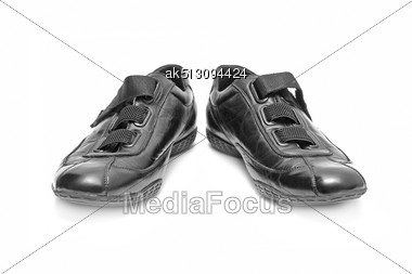 Black Shoe Isolated On White Background Stock Photo