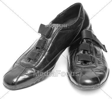 Black Shoes Isolated On White Background Stock Photo