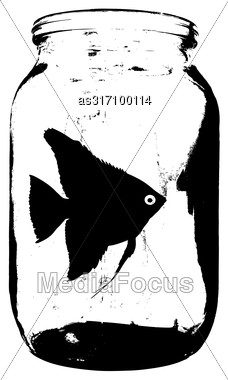 Black Silhouette Of Aquarium Fish In A Jar With Water On White Background Stock Photo