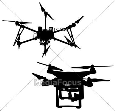 Black Silhouette Drone Quadrocopter A Vector Illustration Stock Photo