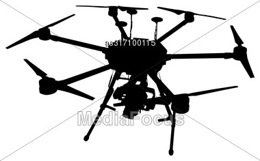 Black Silhouette Drone Quadrocopter On White Background Stock Photo