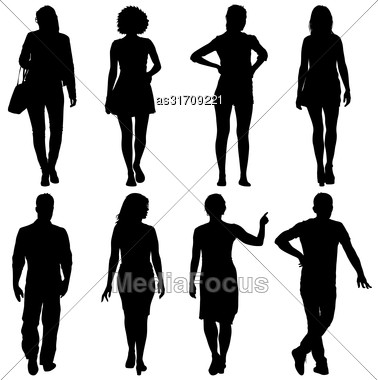 Black Silhouette Group Of People Standing In Various Poses Stock Photo