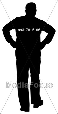 Black Silhouette Man With Hands On His Hips. Vector Illustration Stock Photo