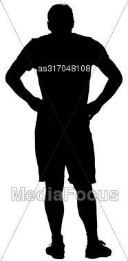 Black Silhouette Man Holding Hands On His Hips. Vector Illustration Stock Photo