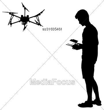 Black Silhouette Of A Man Operates Unmanned Quadcopter Vector Illustration Stock Photo