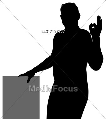 Black Silhouette Of A Man Showing Hand Sign OK Stock Photo