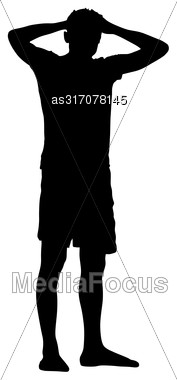 Black Silhouette Man Standing Holding Hands On Head, People On White Background Stock Photo