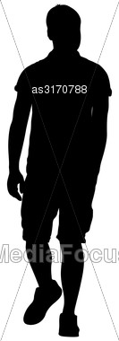 Black Silhouette Man Standing, People On White Background Stock Photo