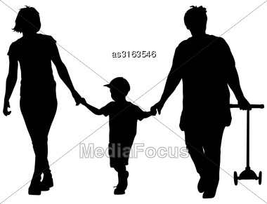 Black Silhouette Of Mother, Grandmother And Grandson Walking With Scooter In The Hands. Vector Illustration Stock Photo