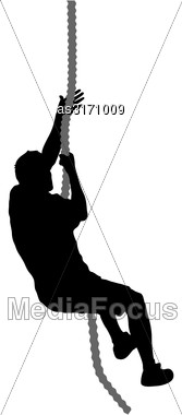 Black Silhouette Mountain Climber Climbing A Tightrope Up On Hands Stock Photo