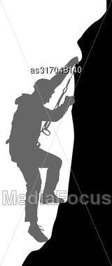 Black Silhouette Rock Climber On White Background. Vector Illustration Stock Photo