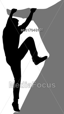Black Silhouette Rock Climber On White Background. Vector Illustration Stock Photo