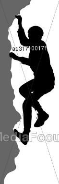 Black Silhouette Rock Climber On White Background Stock Photo
