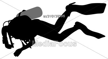 Black Silhouette Scuba Divers. Vector Illustration Stock Photo