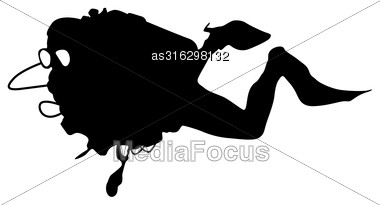 Black Silhouette Scuba Divers. Vector Illustration Stock Photo