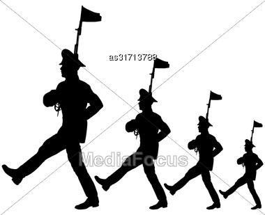 Black Silhouette Soldier Is Marching With Arms On Parade Stock Photo