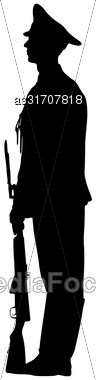 Black Silhouette Soldier Is Standing With Arms On Parade Stock Photo