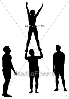 Black Silhouette Two Acrobats Show Stand On Hand. Vector Illustration Stock Photo