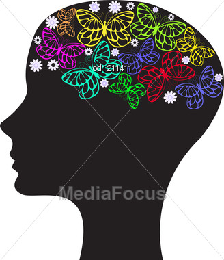 Black Silhouette Of A Woman's Head With Flowers And Butterflies Stock Photo
