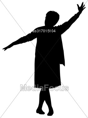 Black Silhouette Woman With Her Hands Raised. Vector Illustration Stock Photo