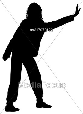 Black Silhouette Woman Standing With Arm Raised, People On White Background Stock Photo