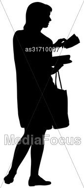 Black Silhouette Woman Standing With A Bag , People On White Background Stock Photo