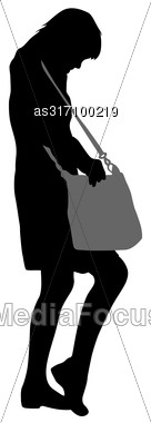Black Silhouette Woman Standing Looking In A Bag , People On White Background Stock Photo