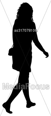 Black Silhouette Woman Standing, People On White Background Stock Photo