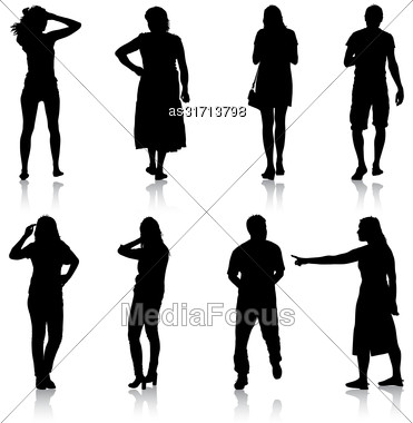 Black Silhouettes Of Beautiful Man And Woman On White Background. Vector Illustration Stock Photo