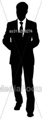 Black Silhouettes Of Beautiful Mans On White Background. Vector Illustration Stock Photo
