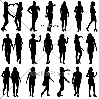 Black Silhouettes Of Beautiful Mans And Womans On White Background. Vector Illustration Stock Photo
