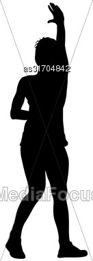 Black Silhouettes Of Beautiful Woman With Arm Raised. Vector Illustration Stock Photo
