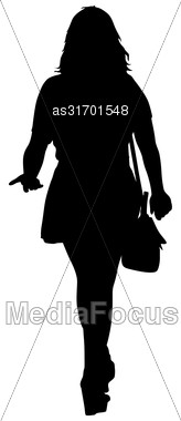 Black Silhouettes Of Beautiful Woman On White Background. Vector Illustration Stock Photo