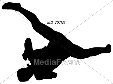 Black Silhouettes Breakdancer On A White Background Stock Photo
