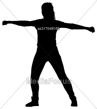 Black Silhouettes Dancing On White Background. Vector Illustration Stock Photo