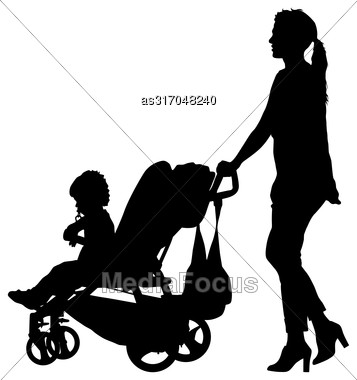 Black Silhouettes Family With Pram On White Background. Vector Illustration Stock Photo