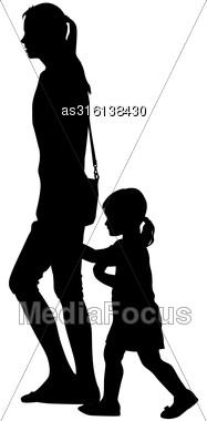 Black Silhouettes Family On White Background. Vector Illustration Stock Photo