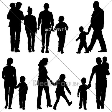 Black Silhouettes Family On White Background. Vector Illustration Stock Photo