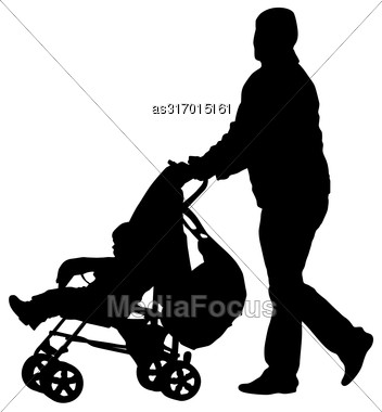 Black Silhouettes Father With Pram On White Background. Vector Illustration Stock Photo